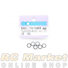 SQUARE SGE-7515BK M5 x 6.4 x 1.5t Aluminum Collar (Black) 6pcs