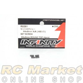 INFINITY R0281 IF18 Set Screw M4x8mm Round Top (4pcs)
