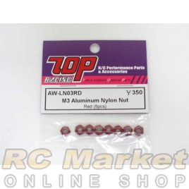 TOP AW-LN03RD M3 Aluminum Nylon Nut - Red (8 pcs)