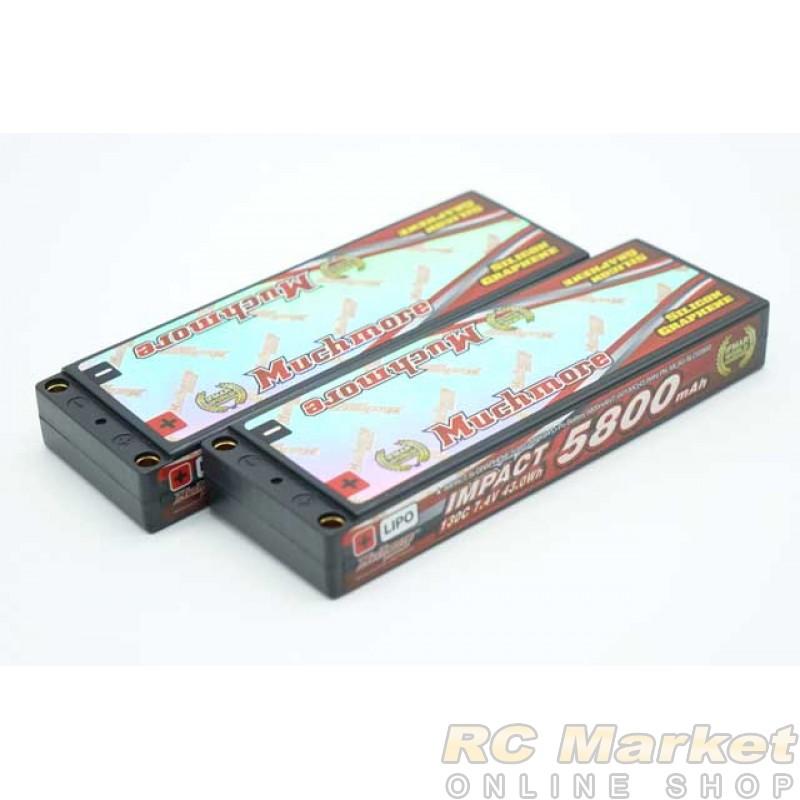 "MUCH MORE MLSG-SLCG5800x2 IMPACT ""Silicon Graphene"" LCG FD4 Li-Po Battery 5800mAh/7.4V 130C Flat Hard Case x 2Pack"