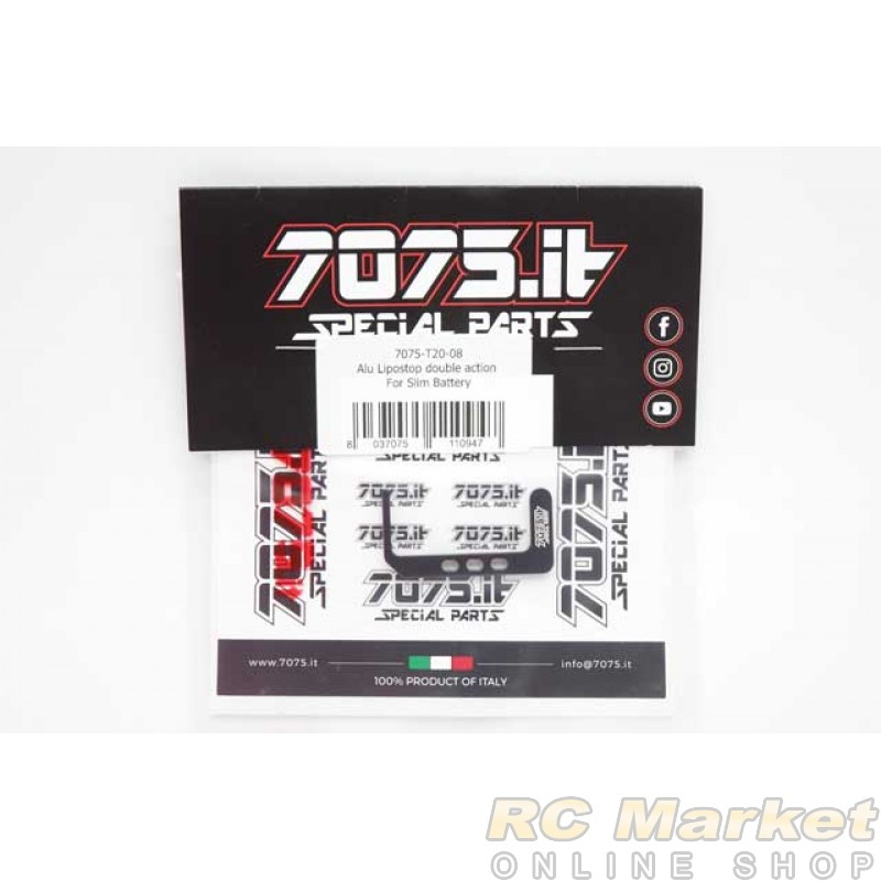 7075.it T20-08 Alu Lipo Stop Double Action for Slim Batteries - XRAY T4