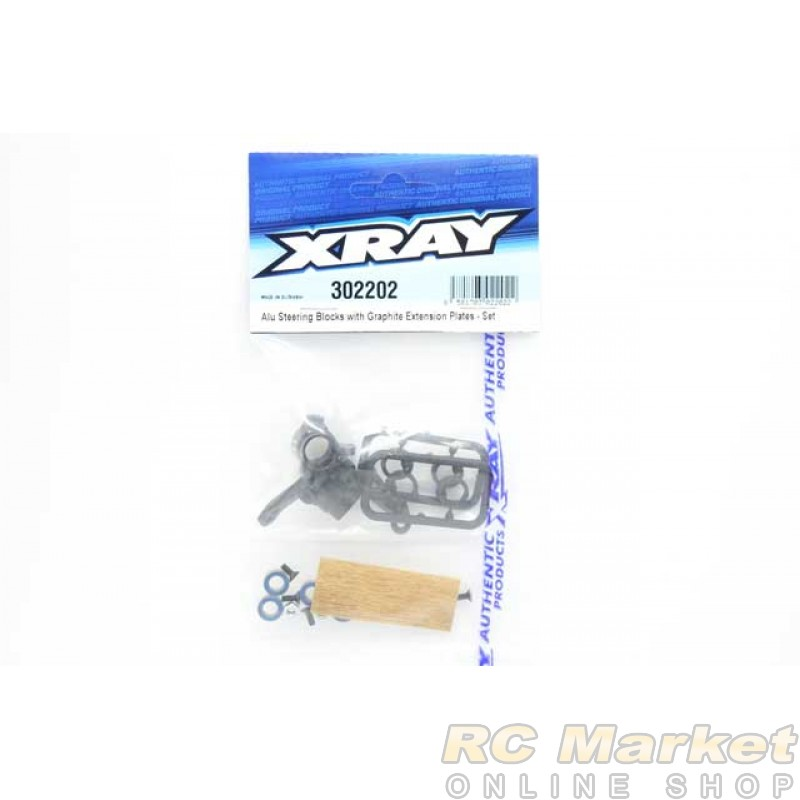 XRAY 302202 Alu Steering Blocks With Graphite Extension Plates - Set