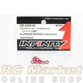 INFINITY CM-A005-05 IF14-2 Aluminum Washer 3x6x0.5mm (Red/10pcs)