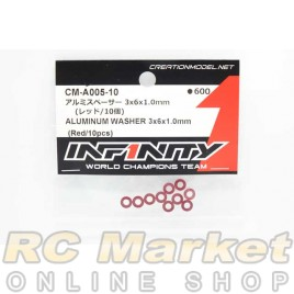 INFINITY CM-A005-10 IF14-2 Aluminum Washer 3x6x1.0mm (Red/10pcs)
