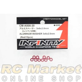 INFINITY CM-A005-20 IF14-2 Aluminum Washer 3x6x2.0mm (Red/10pcs)
