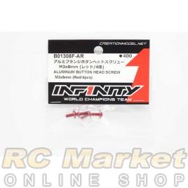 INFINITY B01308F-AR Aluminum Button Head Screw M3x8mm (Red/4pcs)