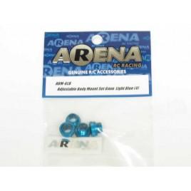 ARENA ABM-6LB Adjustable Body Mount Set 6mm Light Blue (4)